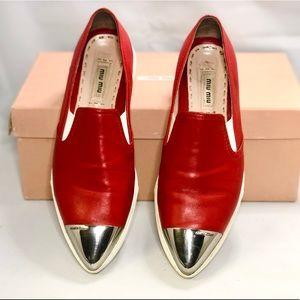 MIU MIU Metal cap toe red sneaker 36.5/6.5